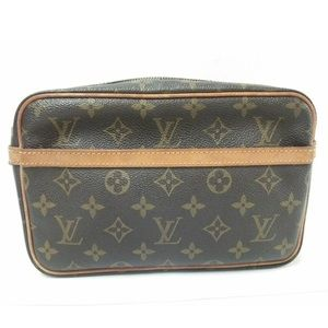 Auth LV Compeigne Zipper Toiletry Cosmetics Bag